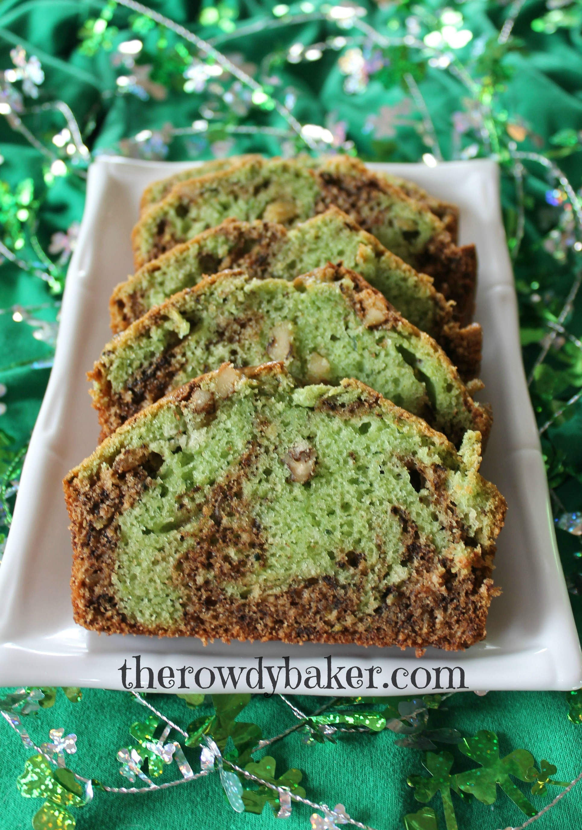 Chocolate Mint Swirl Zucchini Bread | The Rowdy Baker
