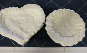 Baked meringue crusts. Don't worry about cracks - they just add to the charm.