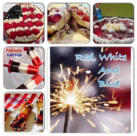 red white blue collage