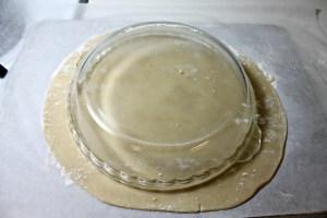 Slide a flat baking sheet under parchment. Center upside down pie pan on dough.