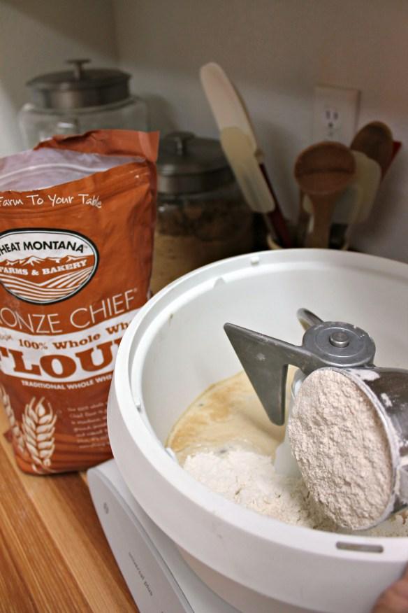 Then the flour and salt