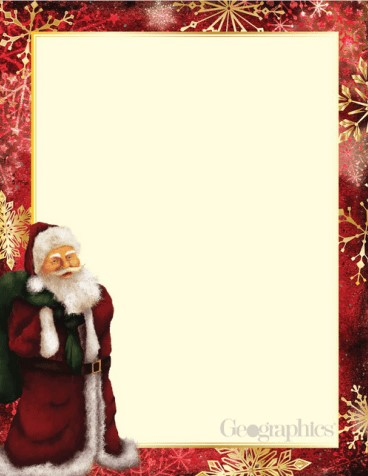 Classic Santa Christmas Letterhead Gold Foil Geographics