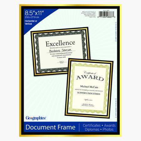 Black Certificate, Diploma, Award Frame Gold Foil Geographics