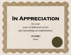 Certificate of Appreciation TheRoyalStore