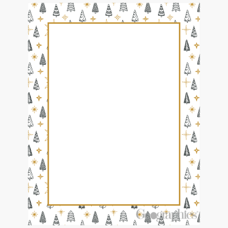 Christmas-Tree-Border-Foiled-Crown-Gold-Letterhead-Geographics-49180
