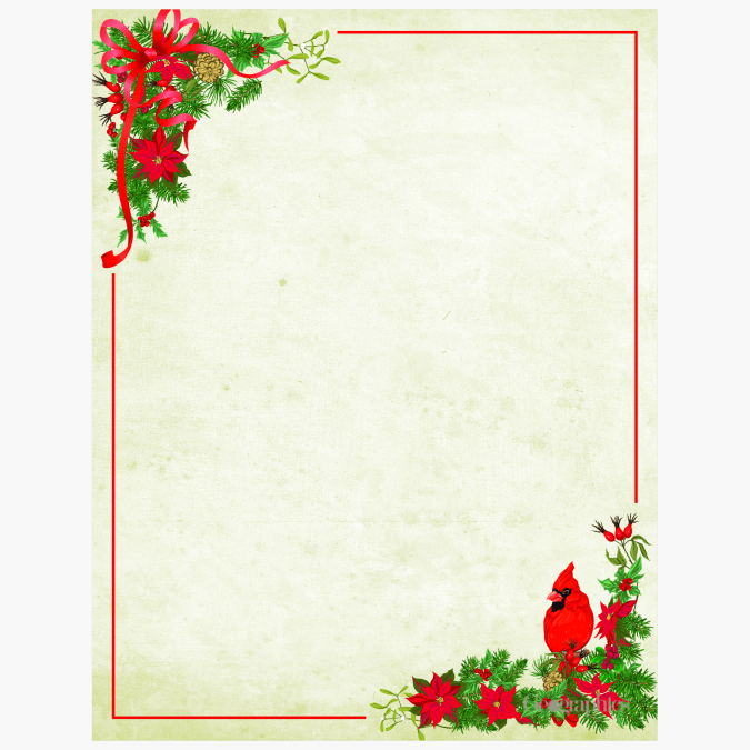 Poinsettia and Cardinal letterhead 49182