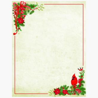 Poinsettia and Cardinal letterhead 49182