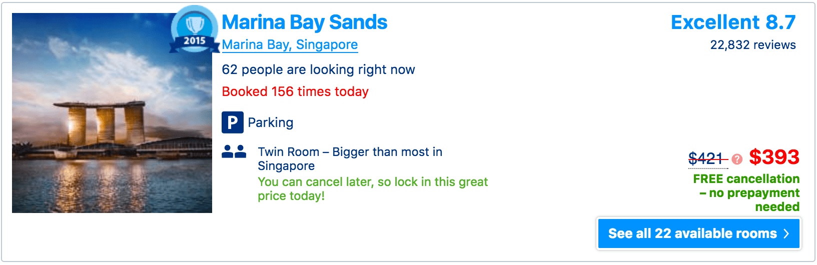 Trip Advisor screen showing the price of a room at the Marina Bay Sands to be $397