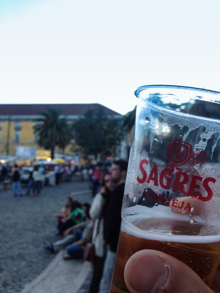 Lisbon Sardine Festival: Sagres beer in a cup