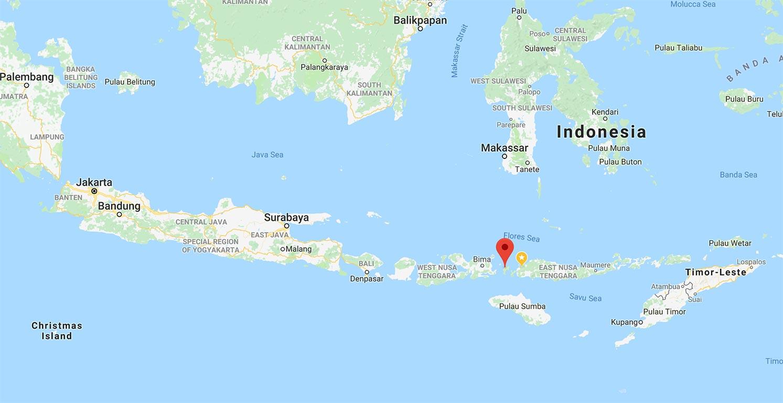 Komodo National Park in Indonesia Google map