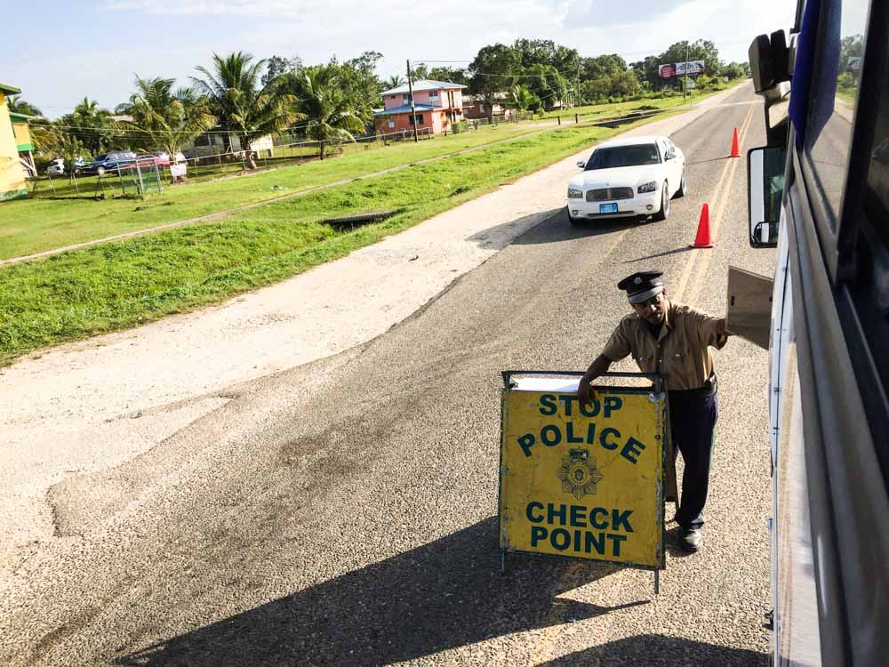 One of the few Police Check Points throughout the journey from belize city to tikal