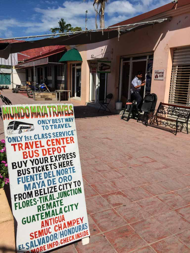 Mundo Maya Travel Office sign