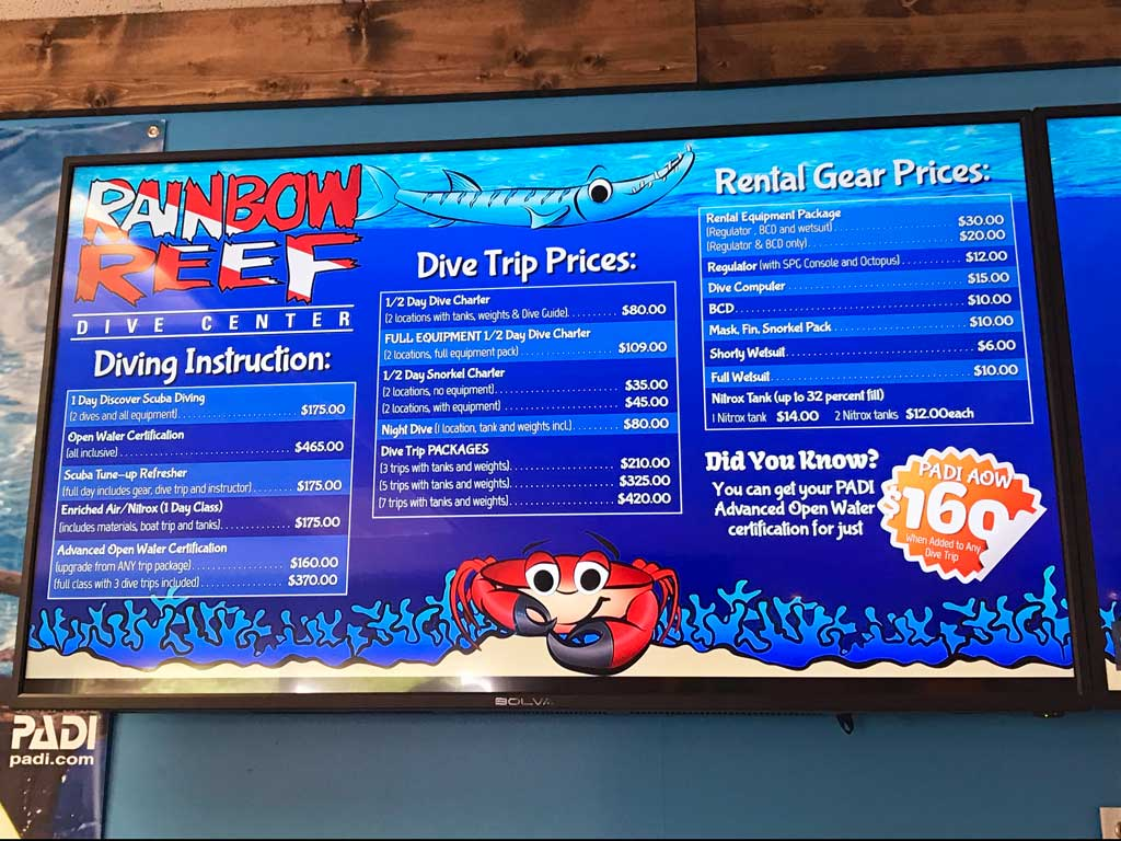 Diving in Key Largo - Rainbow Reef price list