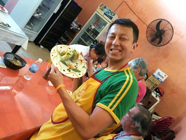 nha trang cooking class: Halef with our spring rolls