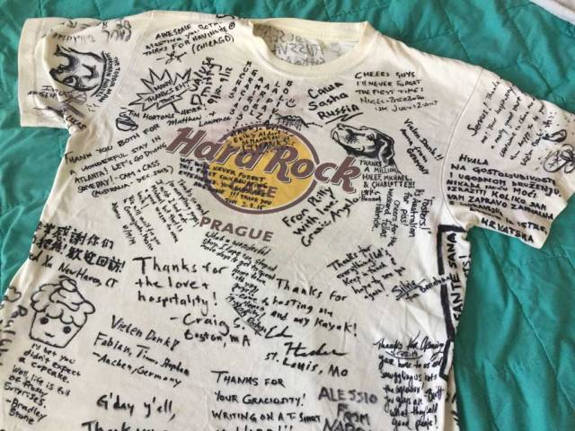 A Hard Rock Cafe shirt signed by dozens of our good couchfurfing guest