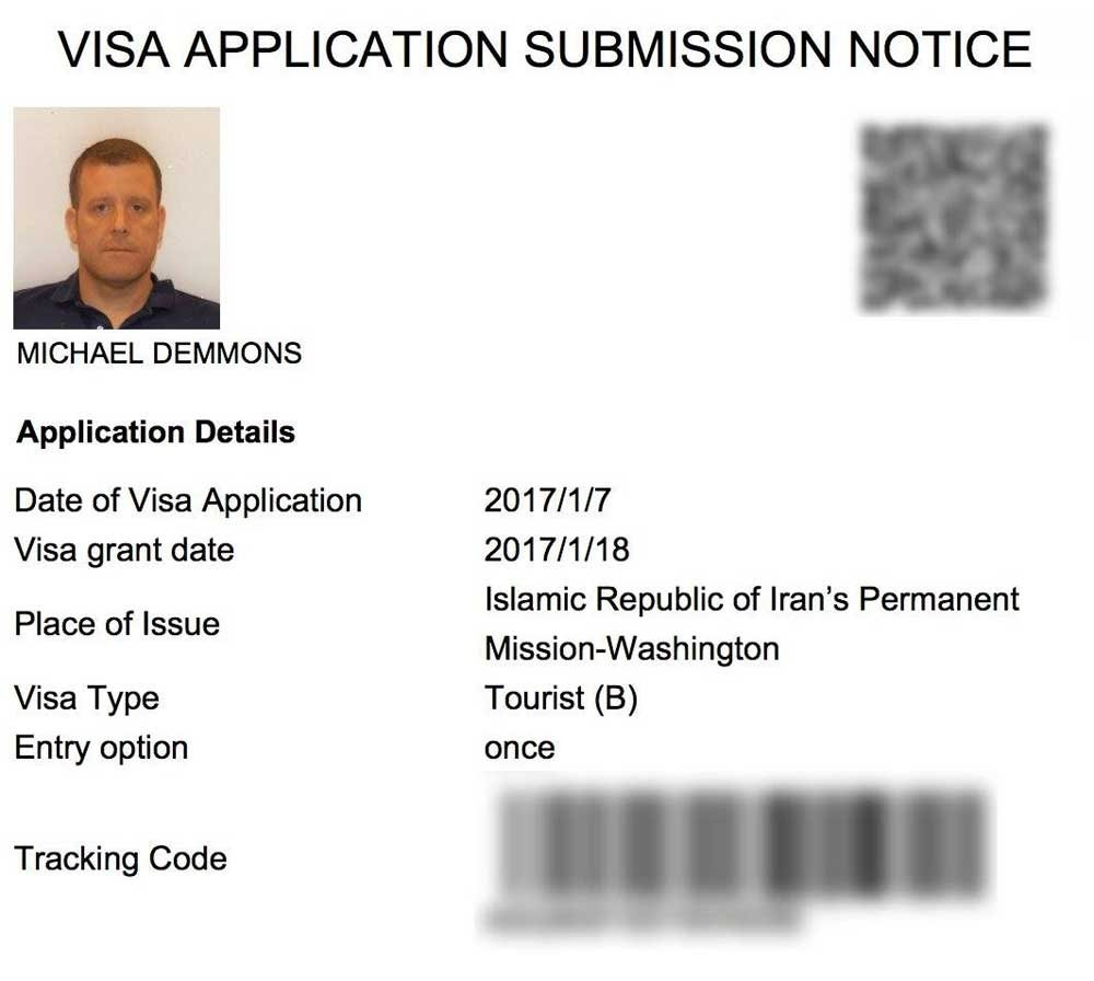 Iranian travel visa application submission notice with Michael's picture on it