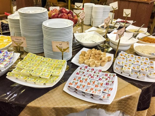Setareh Hotel Isfahan - lots of condiments available at the buffet table