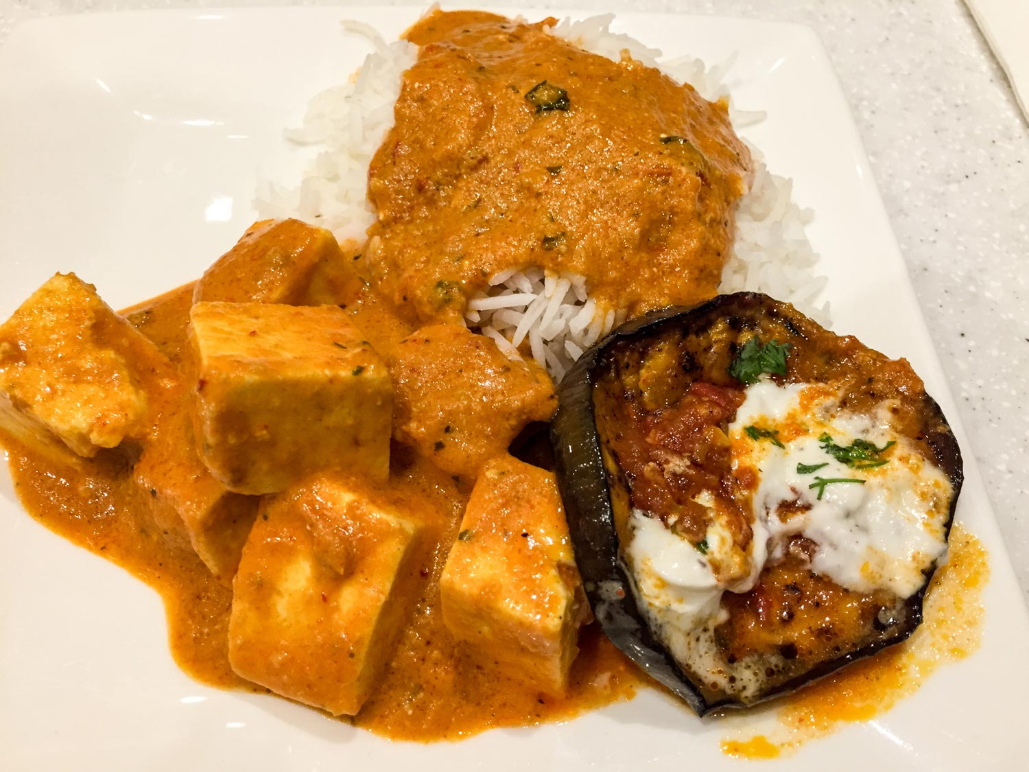 Tikka masala and stuffed mushroom