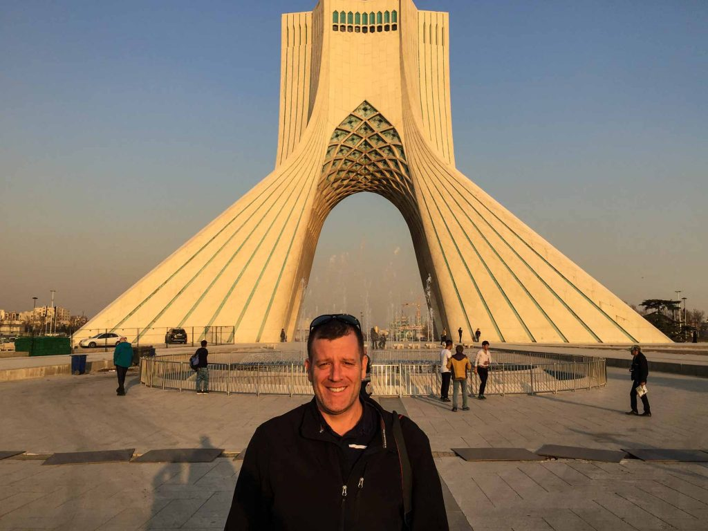 Michael at the Azadi Tower in Tehran.