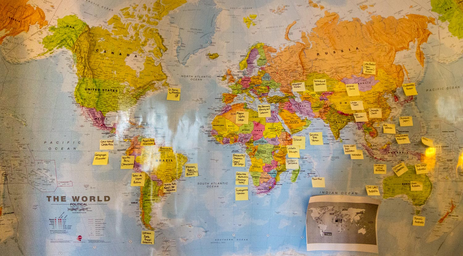 Counting Countries on our travel map