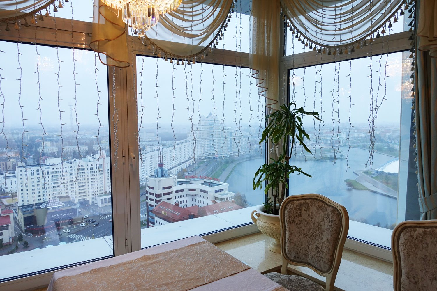 A view of Belarus from the panoramic restaurant