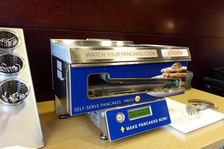 Alaska Airlines Lounge Seattle pancake machine