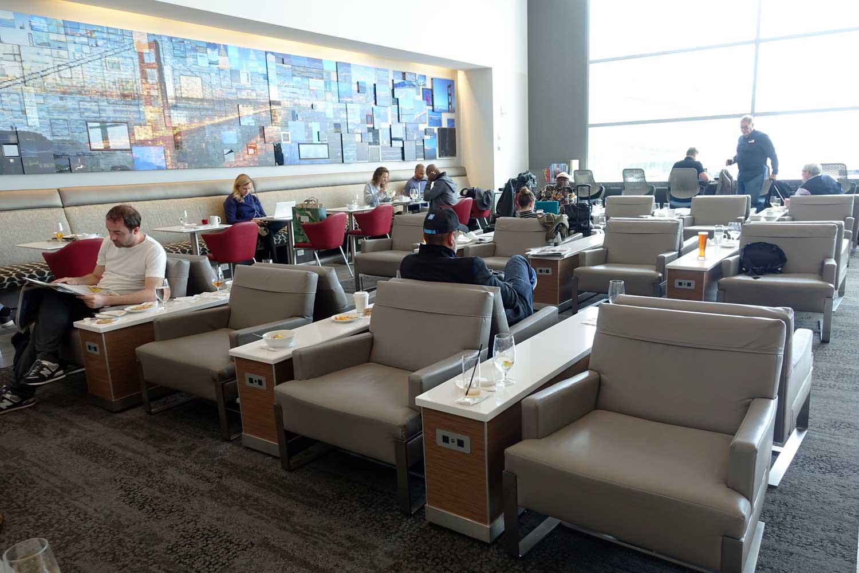 delta sky club san francisco main lounge area