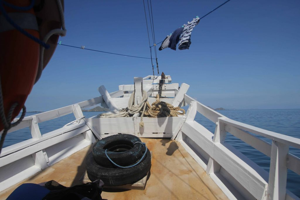 The bow of the Tatawa liveaboard