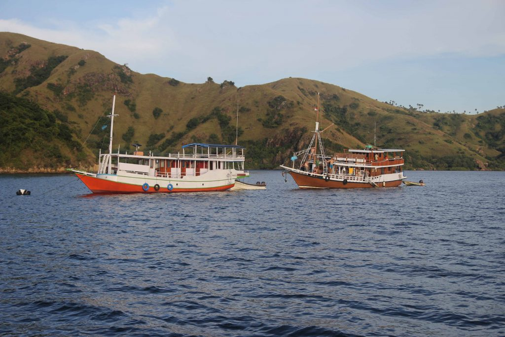 Two boats glide through the water in Komodo