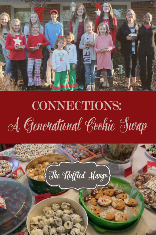 How to host a multi-generational cookie swap. Fun for everyone and includes a service project! A great opportunity for Christian fellowship. ~The Ruffled Mango