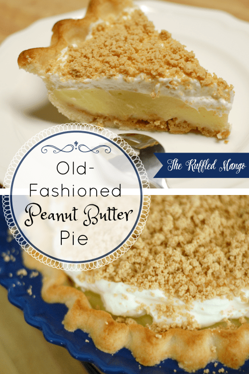 Peanut butter pies are always delicious, but this old-fashioned one is our family's very favorite! Homemade crust filled with peanut butter crumbles, vanilla custard, and real whipped cream. It's incredible!