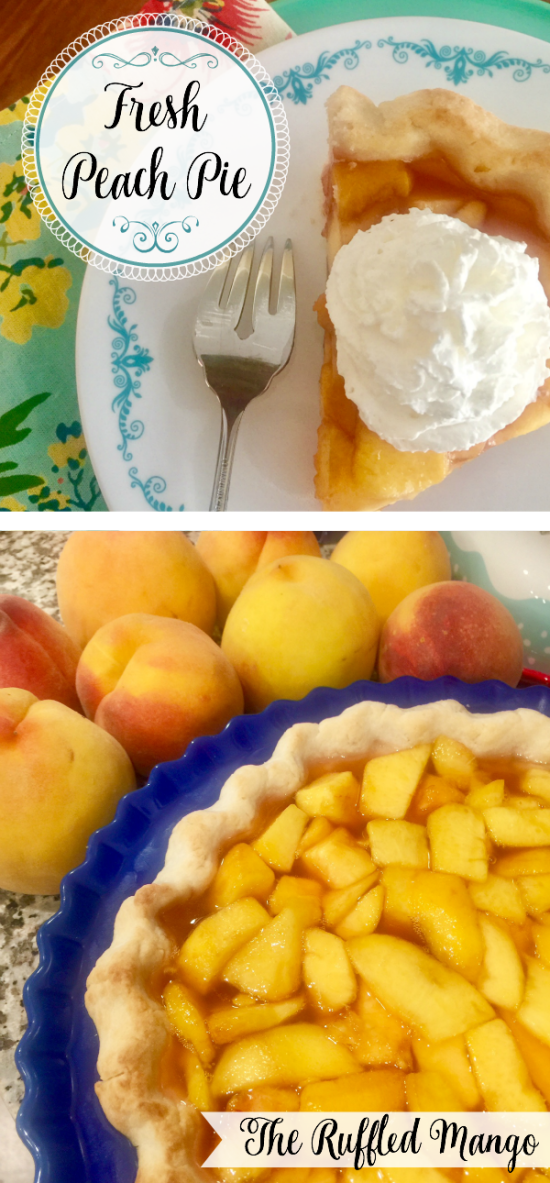 The crowning glory of Peach Season around here is Fresh Peach Pie. Homemade crust? Check. Fresh juicy peaches? Check. An easy glaze? Check. And a dollop (or three!) of whipped cream? Check. It hits all the high notes, let me tell you. You won't be able to resist. And with every year from now on, the moment that the summer heat threatens to melt you and you want to fast forward to glorious mild-mannered autumn, you'll repeat to yourself,