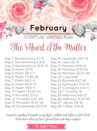 February Scripture Writing Guide: The Heart of the Matter