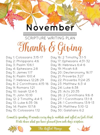 November Scripture Writing Plan: Thanks & Giving