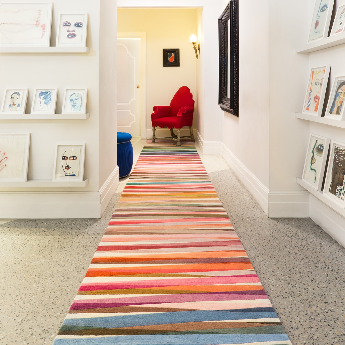 Rainbow Runners For Striking Staircases And Narrow Spaces The | Carpet Rugs For Stairs | Navy Blue | Beige | Tartan | Wool | Diamond Pattern