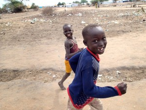 two boys running