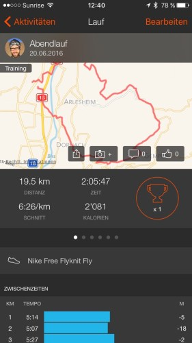 Tracked run in the Strava ios App