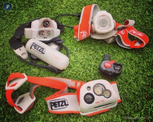A variety of running head torches from Petzl