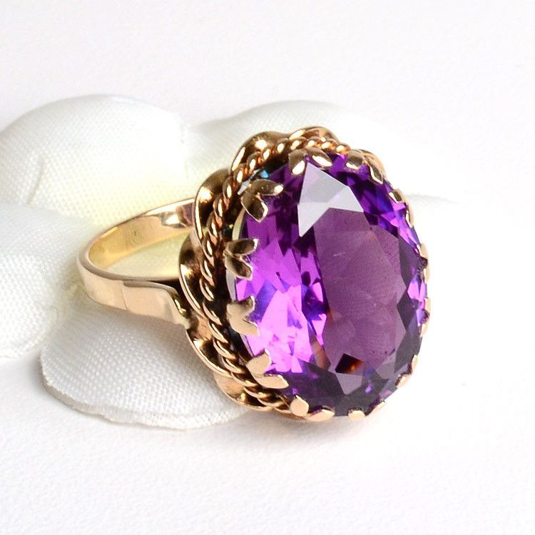 More Gemstones Purple Sapphire Ring 14K Gold The