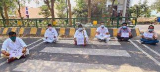 बंगाल हिंसा के विरोध में भाजपाईयों का धरना