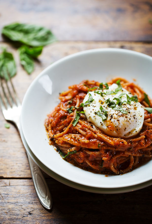 Spaghetti with Poached Egg