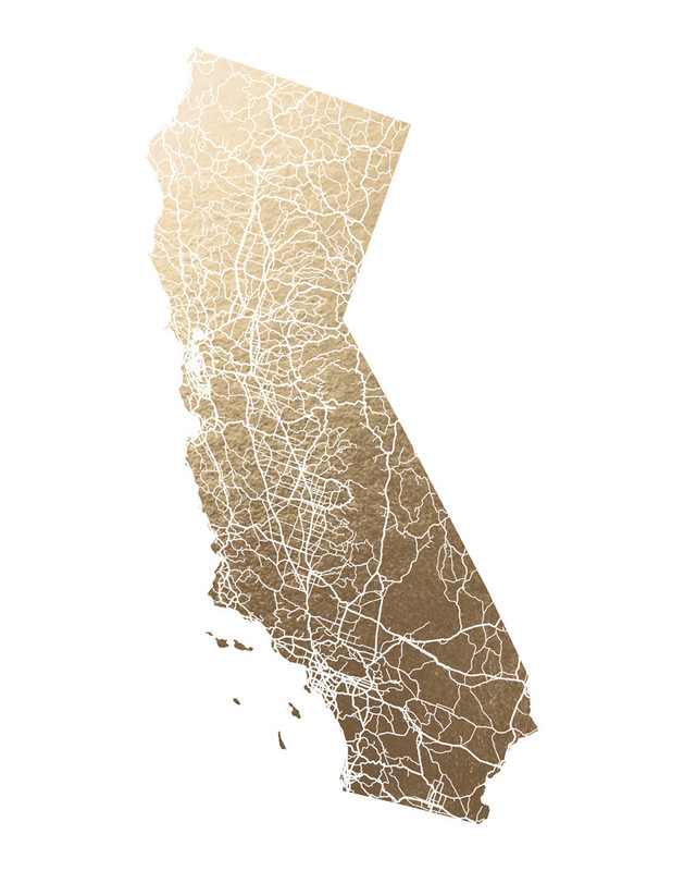 Gold Foil Map of California
