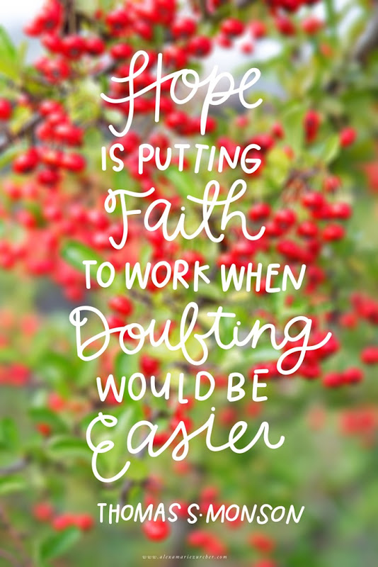 Hope is putting your faith to work when doubting would be easier