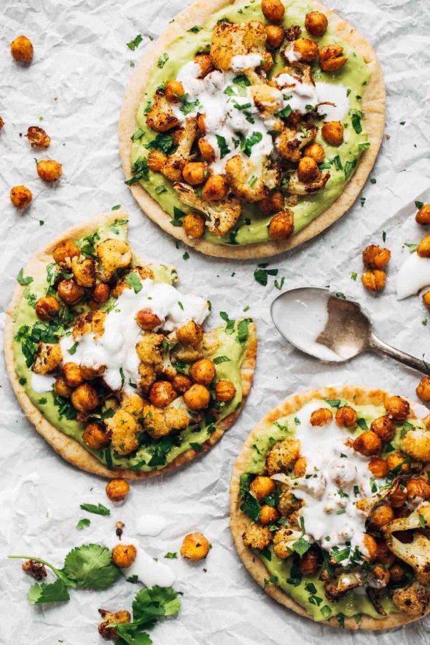 Roasted Veggie Pita with Avocado Dip