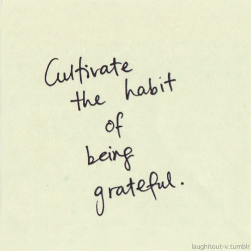Cultivate the habit of being grateful.