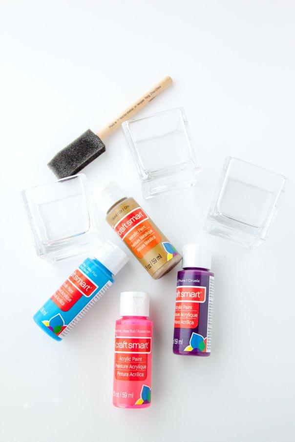 DIY Splatter Paint Vases Votives