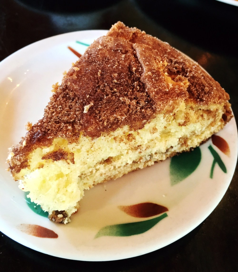 A slice of coffee cake