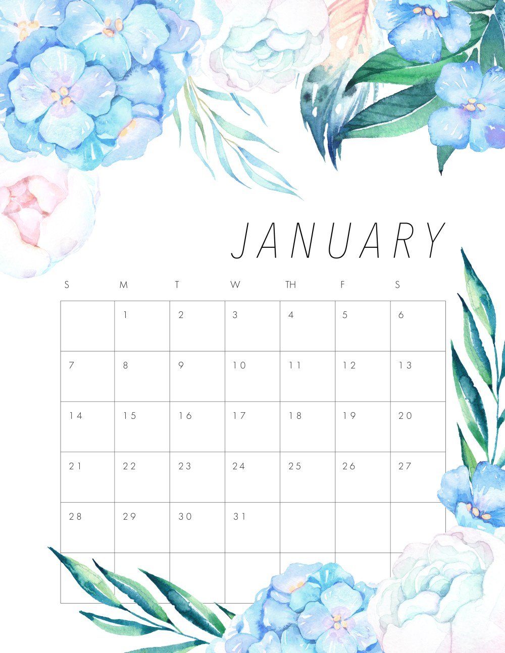 2018 Floral Calendar by Andrea at The Cottage Market