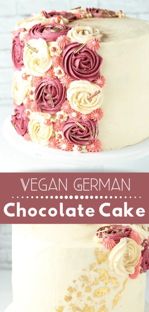 vegan german chocolate cake decorated with pink and cream rosettes and gold sprinkles