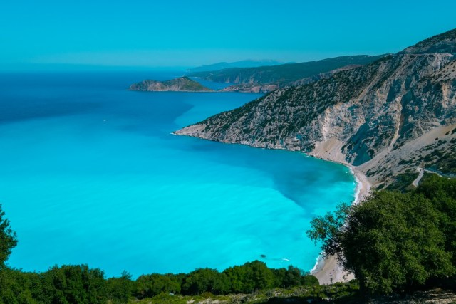 Myrtos Beach in Kefalonia is one of the most beautiful beaches in greece